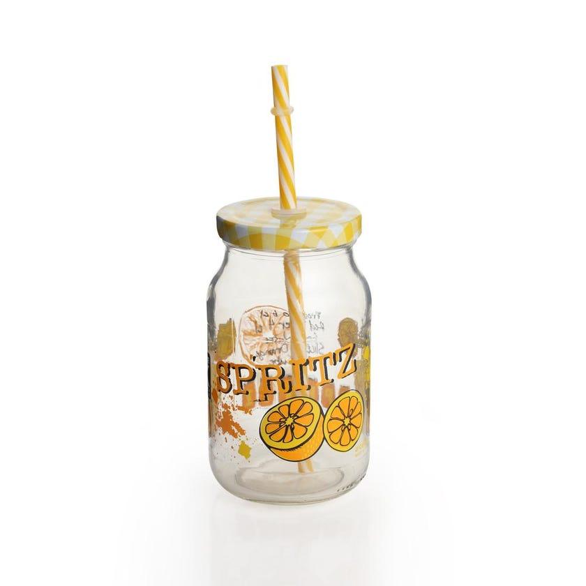 Friendly Glass Mug with Lid & Straw - Transparent/Yellow, 450 ml