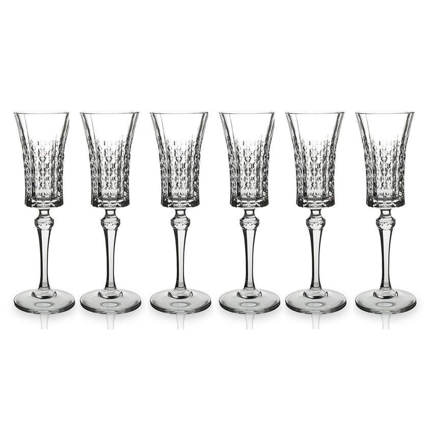 Eclat Lady Diamond Flute Glass Set - 6 Pieces, Transparent, 23 cms