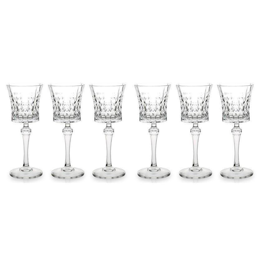 Eclat Lady Diamond Stem Glass Set - 6 Pieces, Transparent, 20 cms