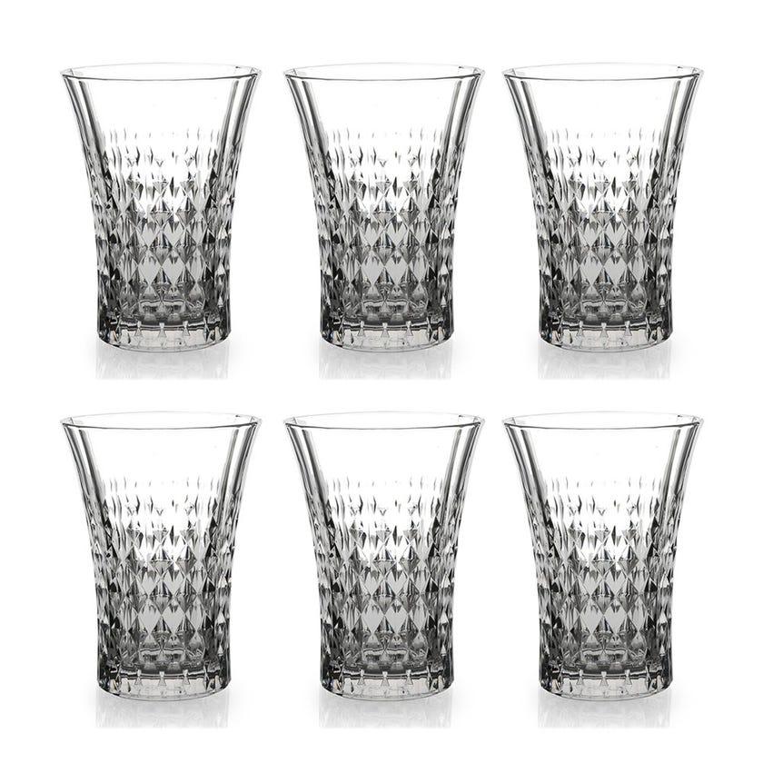 Eclat Lady Diamond Glass Tumbler Set - 6 Pieces, Transparent, 13 cms