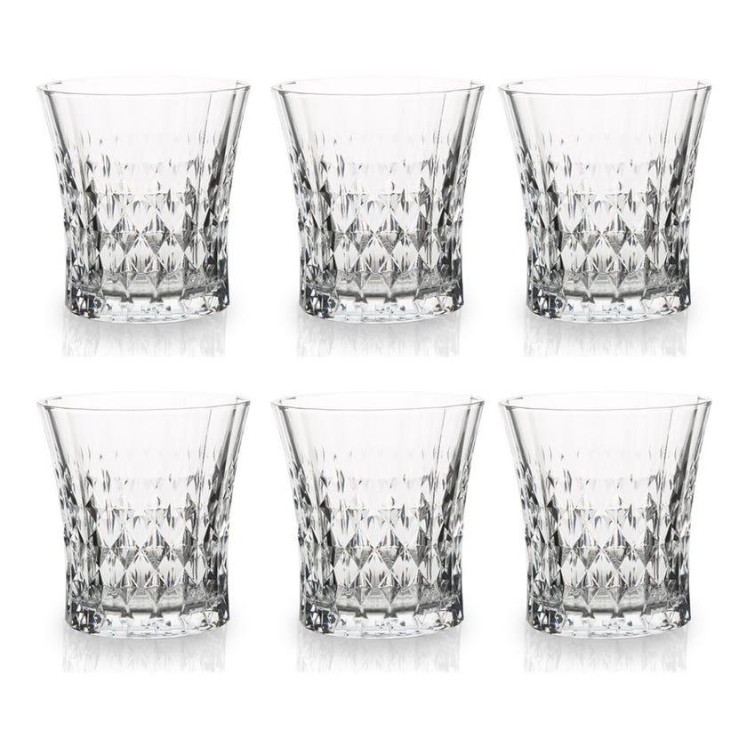 Eclat Lady Diamond Glass Tumbler Set - 6 Pieces, Transparent, 9 cms