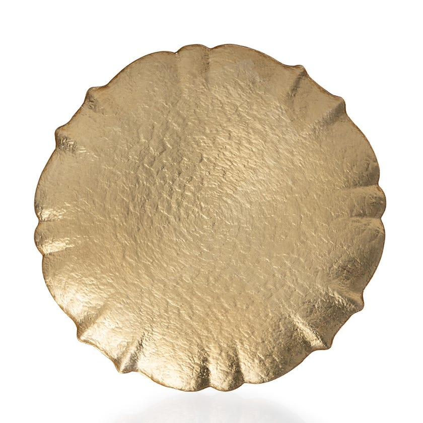 Icequeen Glass Flat Plate - Solid Gold, 33 cms