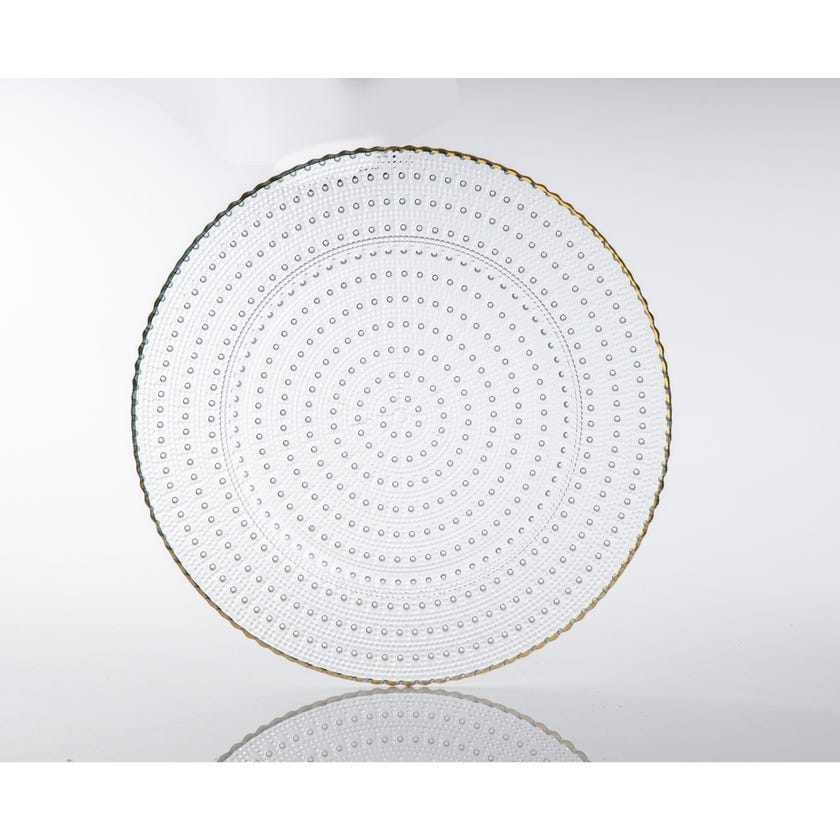 Allure Glass Flat Plate - Real Gold, 33.5 cms