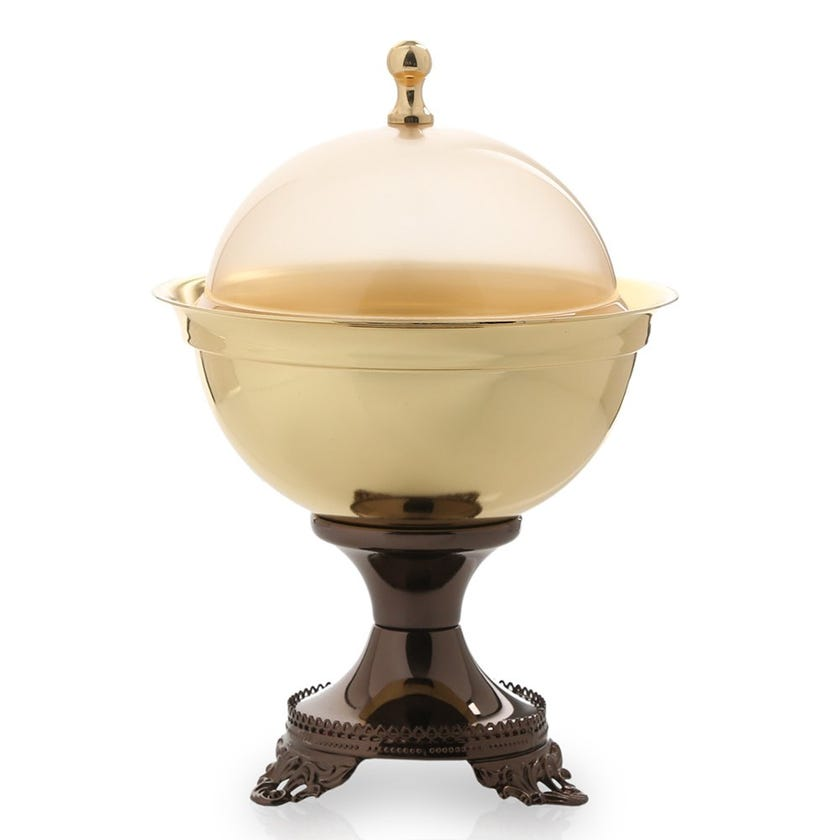 Gilt Plated Iron Bowl with Stand, Gold & Brown