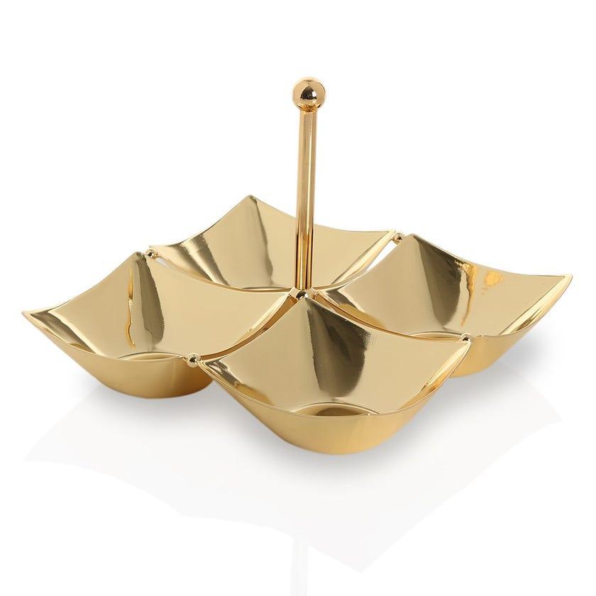 Gilt Plated Iron Quadruple Nut Bowl, Gold