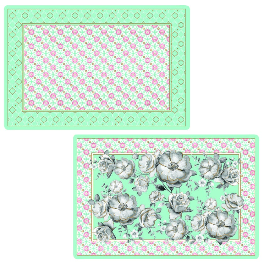 Double-Sided Table Mat, Green - 45x30 cms
