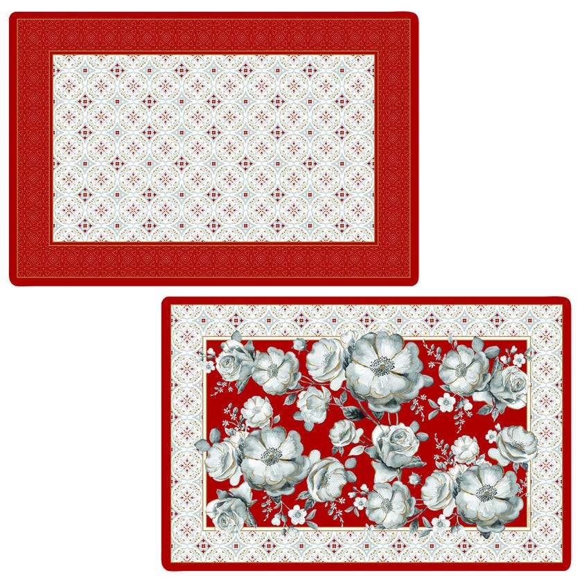 Double-Sided Table Mat, Red - 45x30 cms