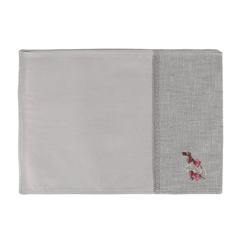 Nell Polycotton Placemat, Grey – 35x50 cms