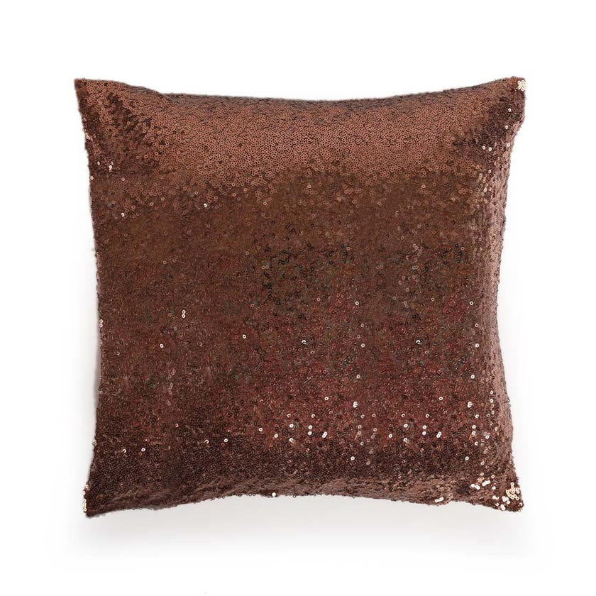 Sequin Cushion Cover, Brown