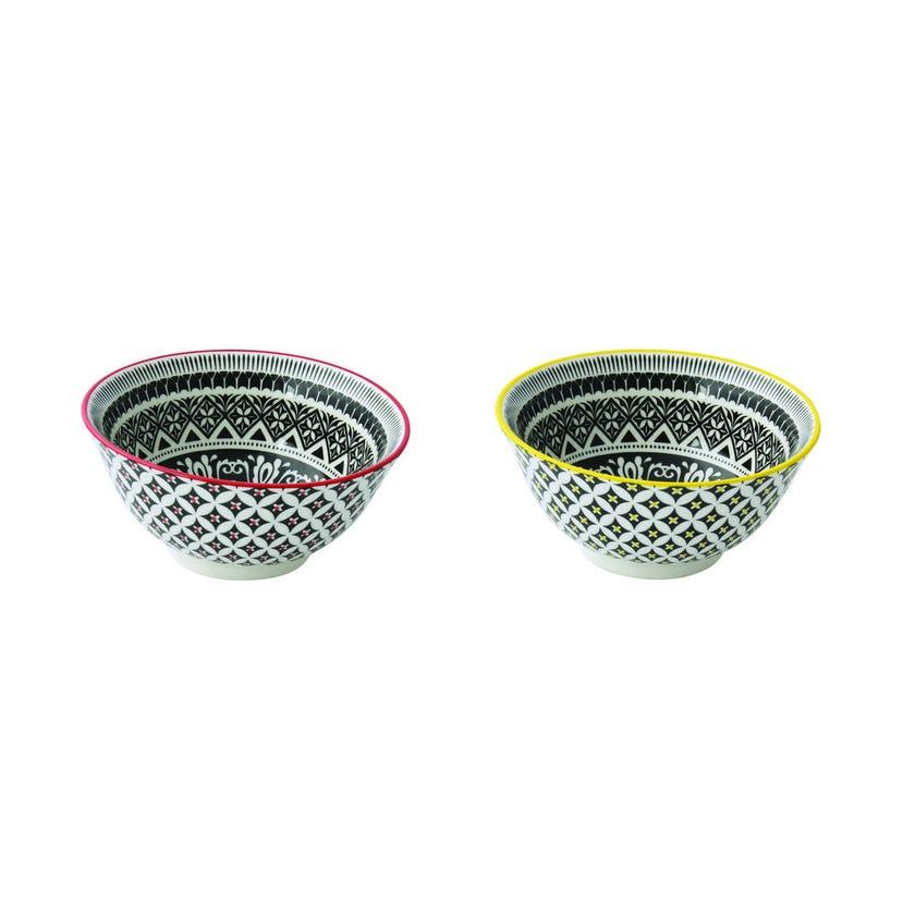 Etha Stoneware Bowl Set - 2 Pieces, Multicolour, 15 cms