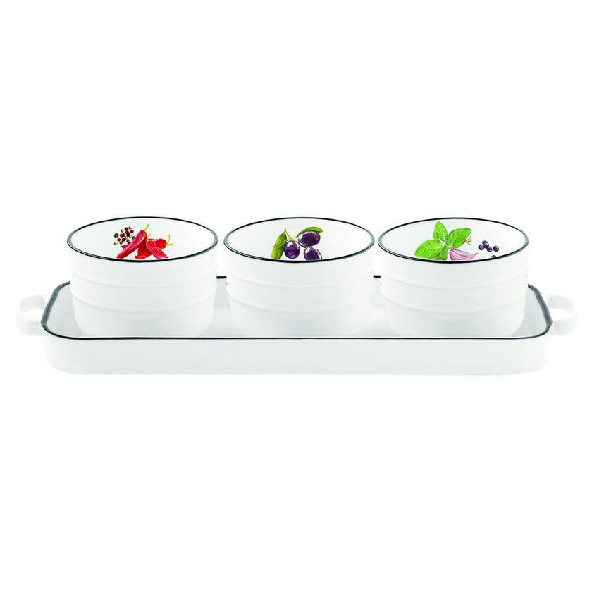 3-Piece Appetizer Bowl Set, White