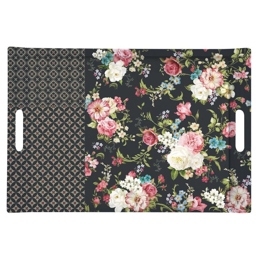 Topstray Flower Plastic Tray with Handles, Black - 49 x 34