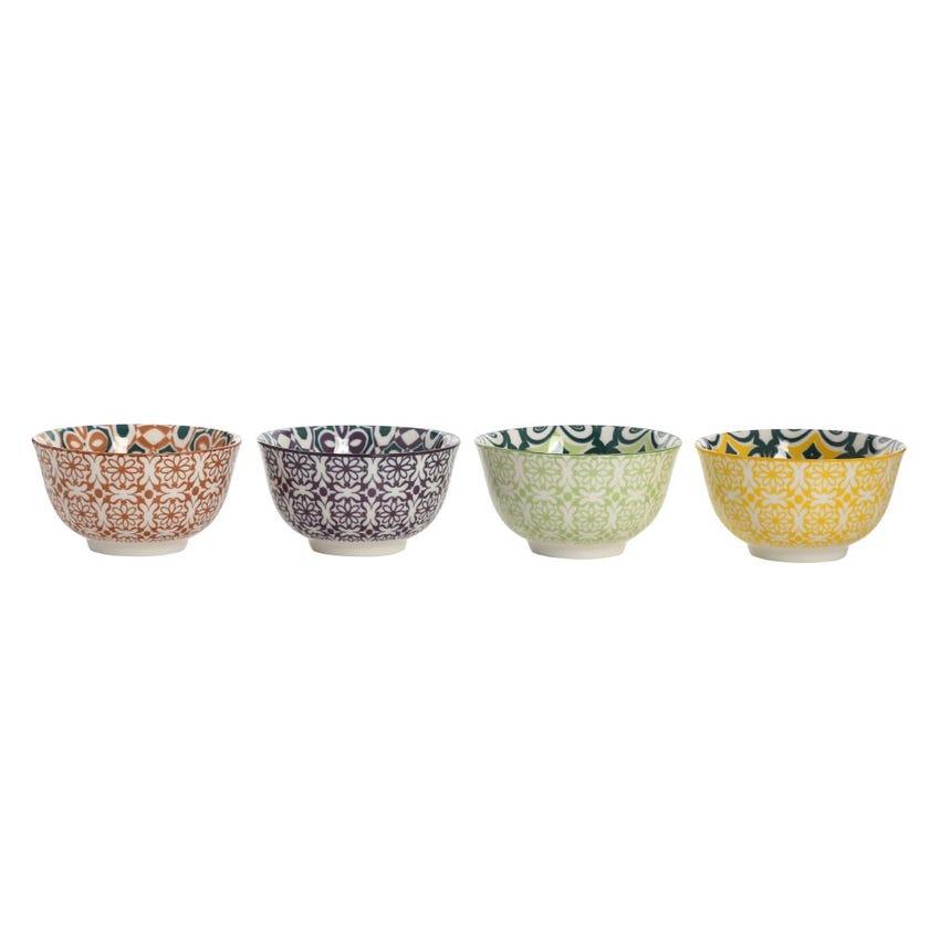 Bali Stoneware Bowls, Multicolour - Set of 4