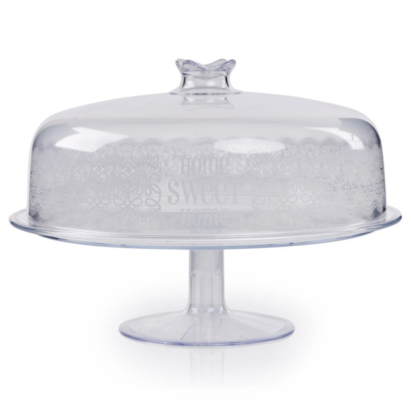 Round Tray With Dome Medium - Transparent