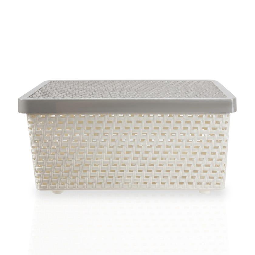 Senn Plastic Storage Basket, Cream/Grey - Small