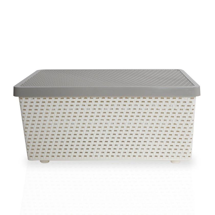 Senn Plastic Storage Basket, Cream/Grey - Large