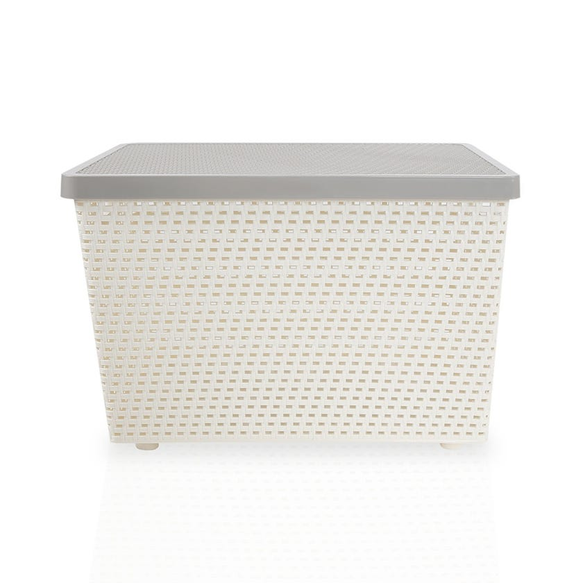 Senn Plastic Storage Basket, Cream/Grey - Extra Large