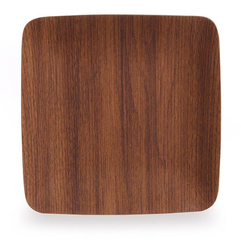Polystyrene Square Plate, Mahogany - 19 x 19 cms