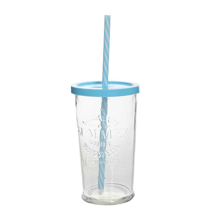Clear Glass Cup With Blue Lid and Straw, Medium