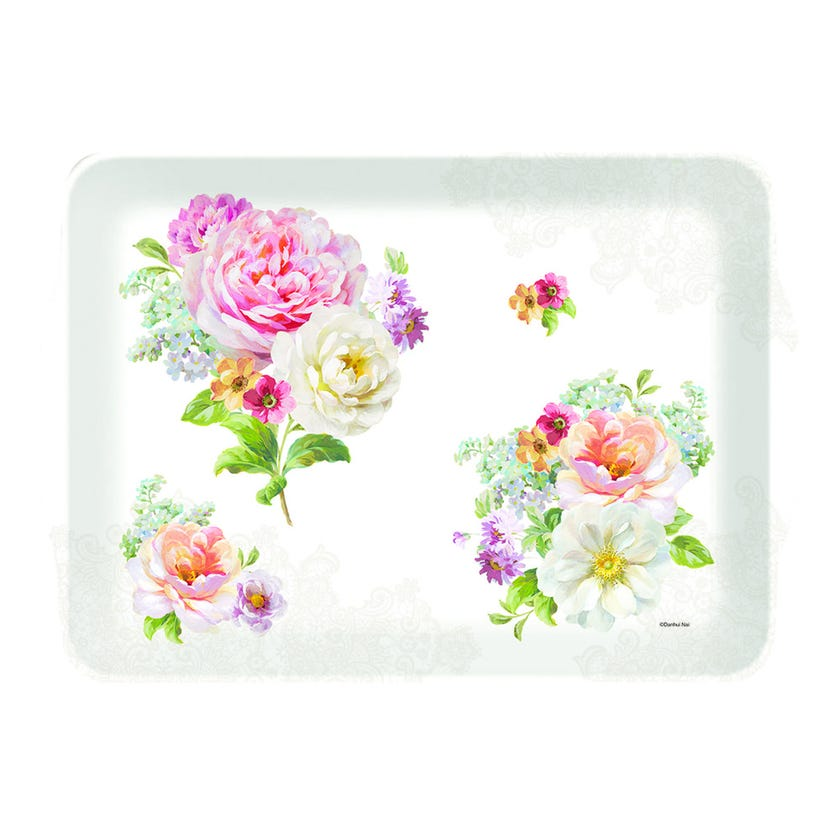 Romantic Lace Tray with Handle, Multicolour – 47x32 cms
