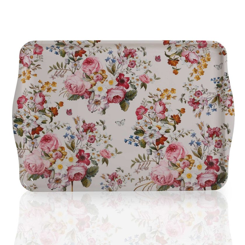 Blooming Opulence Cream Tray with Handle, Multicolour – 47x32 cms