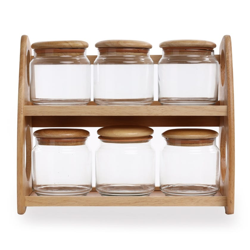 6-Piece Wood Canister