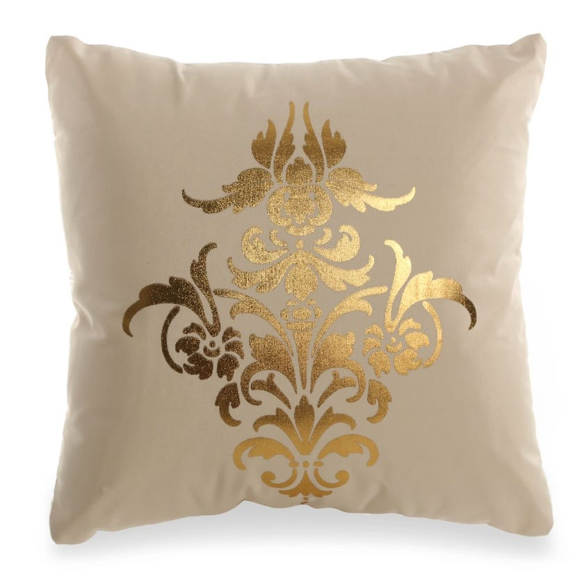 Printed Cushion Cover (Ivory and Gold, Cotton, 40 x 40 cms)