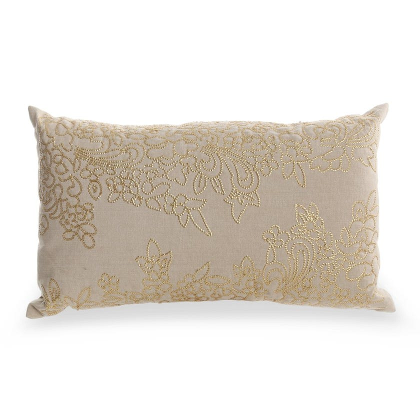 Filled Cushion (Beige and Gold, Cotton, 30 x 50 cms)