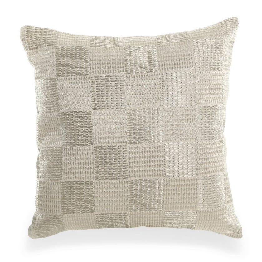 Zari Cushion Cover (Ivory and Champagne, Polyester, 40 x 40 cms)