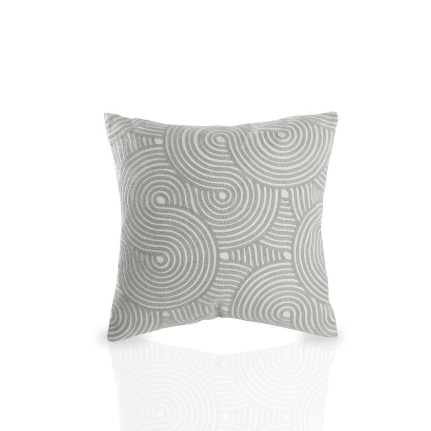 Embroidered Geo Cushion Cover (Silver and Natural, Polyester, 45 x 45 cms, 1-Piece)
