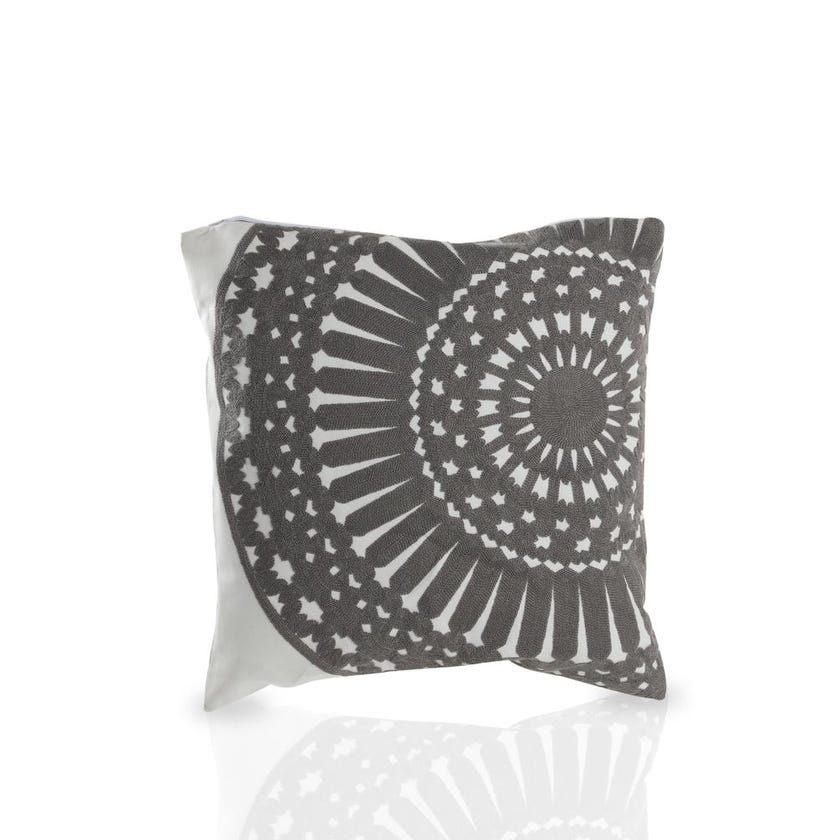 Embroidered Geo Cushion Cover (Grey and Natural, Polyester, 45 x 45 cms, 1-Piece)