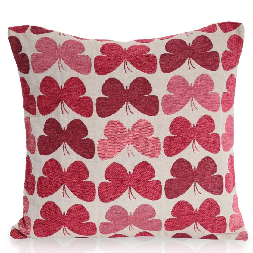 Jacquard Butterfly Cushion Cover (Pink, Polyester, 43 x 43 cms, 1-Piece)