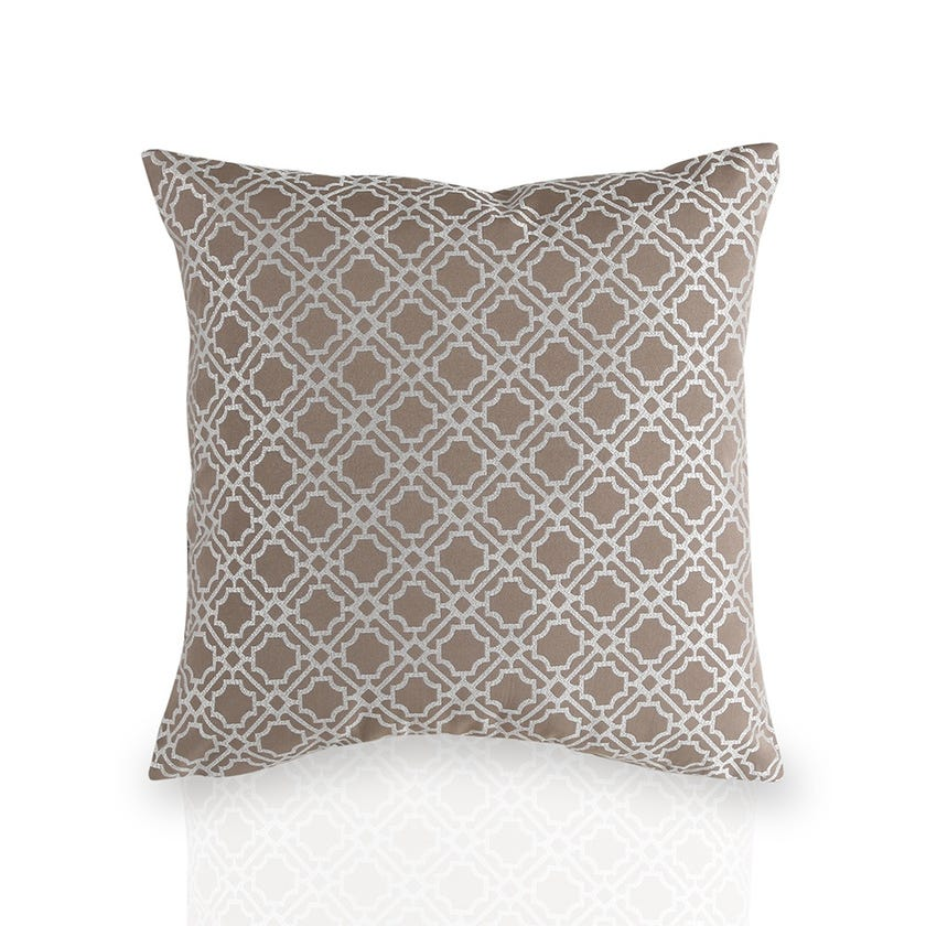Jacquard Geo Cushion Cover (Taupe, Polyester, 43 x 43 cms, 1-Piece)