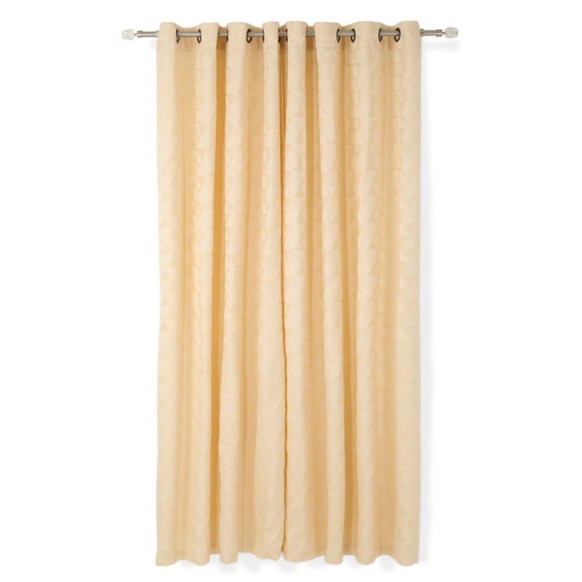 Elsa Jacquard Curtain, 140 x 240 cms, Beige, Pack of 2