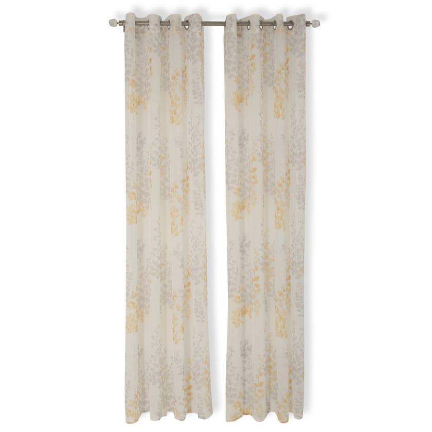 Leaf Sheer Curtain, 140 x 240 cms, Yellow