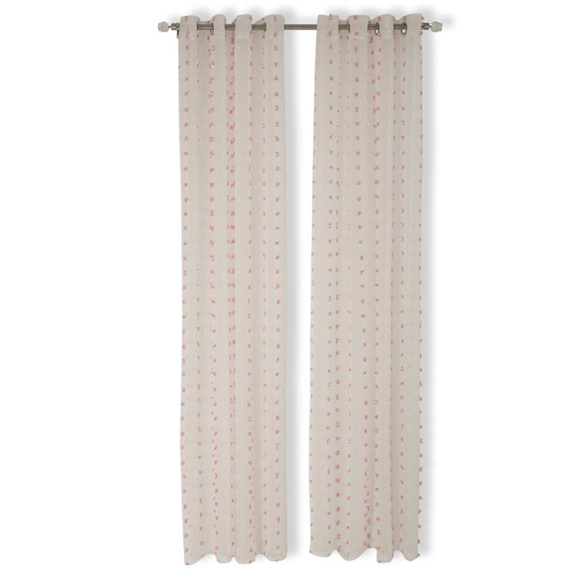 Pom Pom Sheer Curtain, 140 x 240 cms, Pink