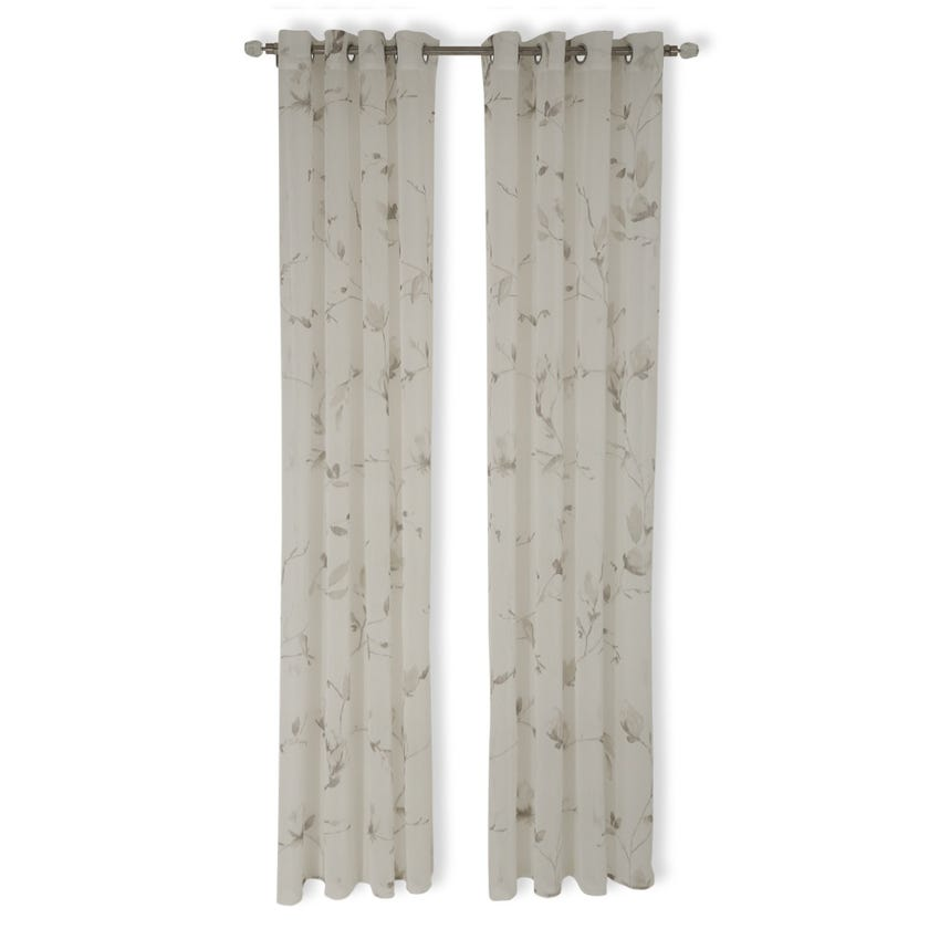 Leaf Sheer Curtain, 140 x 240 cms, White and Grey