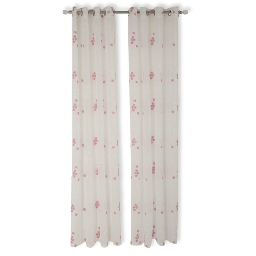 Flower Sheer Curtain, 140 x 240 cms, White and Pink
