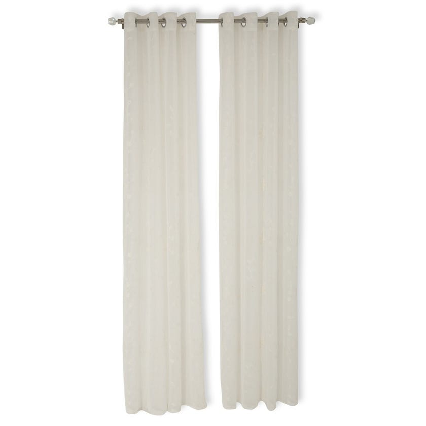 Flower Sheer Curtain, 140 x 240 cms, White