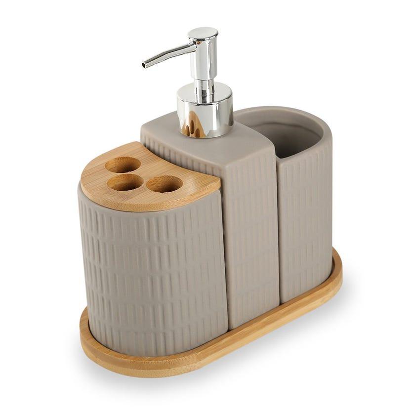 Grey Stripe 4-piece Bath Accessories Set