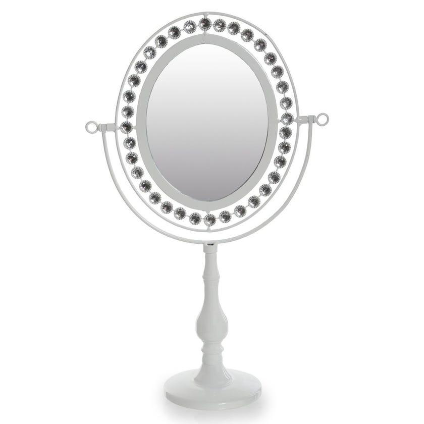 Stone Studded Oval Vanity Mirror, White