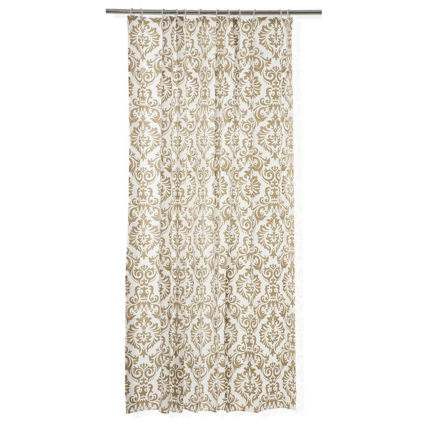 Printed EVA Shower Curtain, Damascus - Beige & Gold
