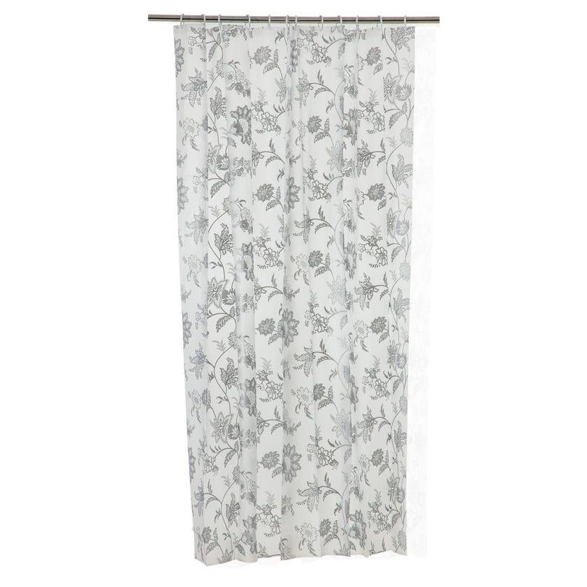Printed EVA Shower Curtain, Flower - Silver
