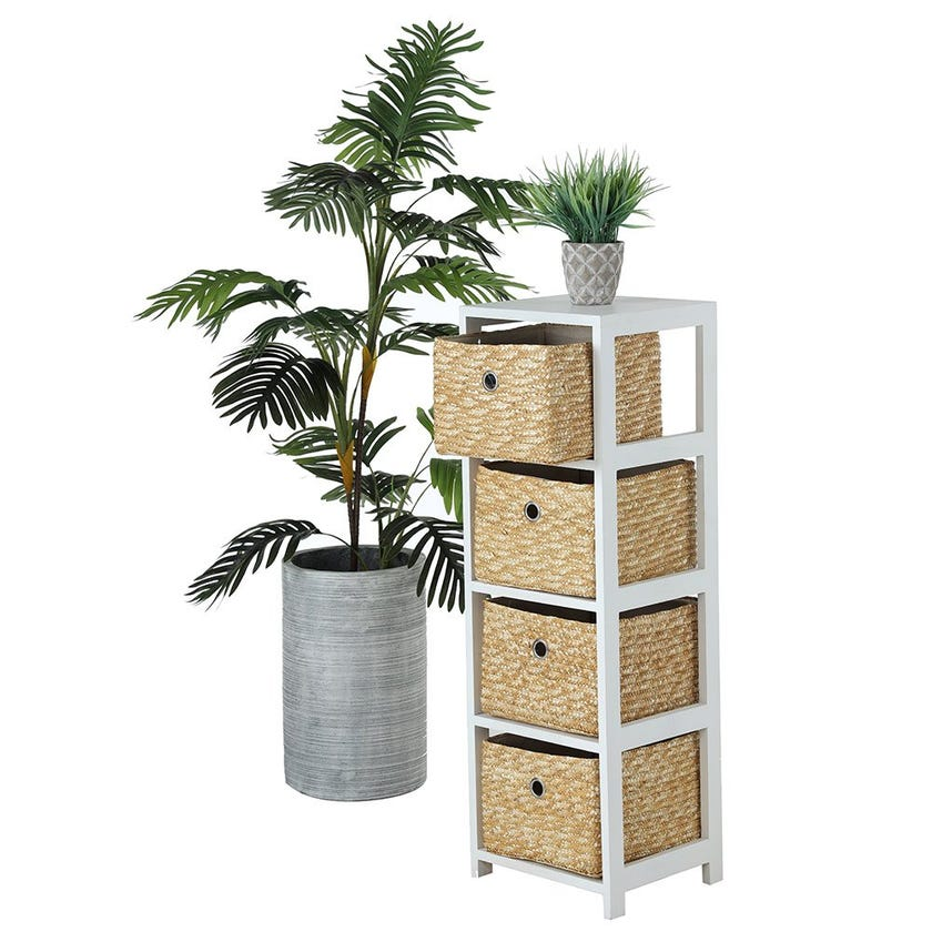 4-Basket Drawer Wooden Cabinet, White & Natural