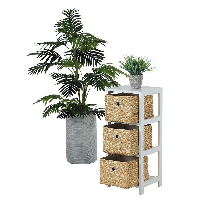 3-Basket Drawer Wooden Cabinet, White & Natural