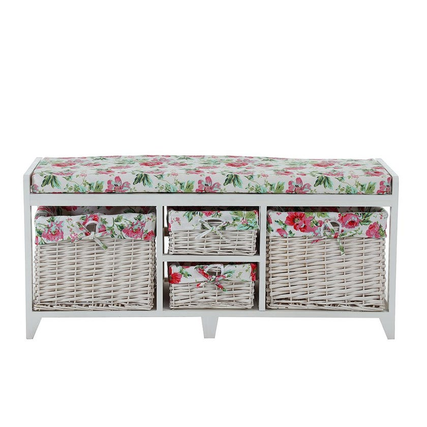Paulowina Floral Wooden Cabinet, White