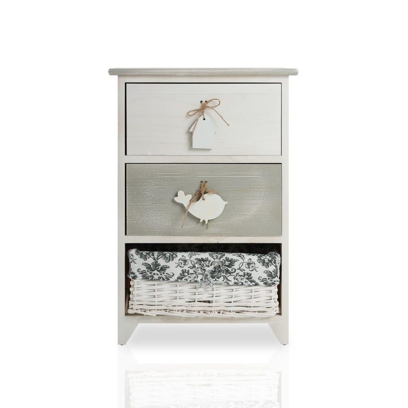Paulownia Wood Vintage 2+1 Drawer Cabinet