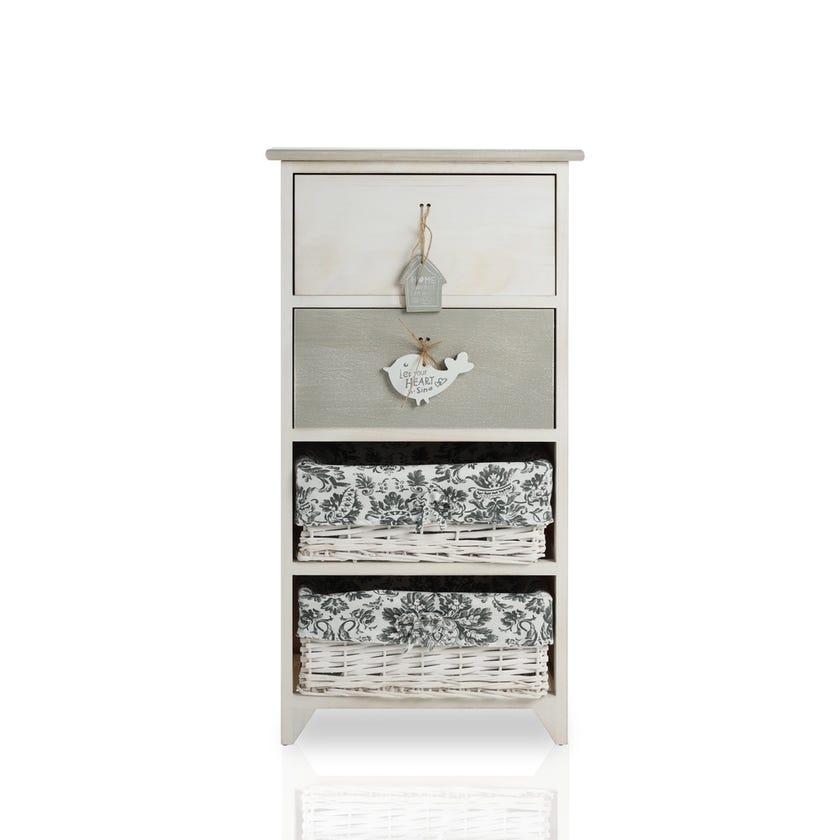 Paulownia Wood Vintage 2+2 Drawer Cabinet