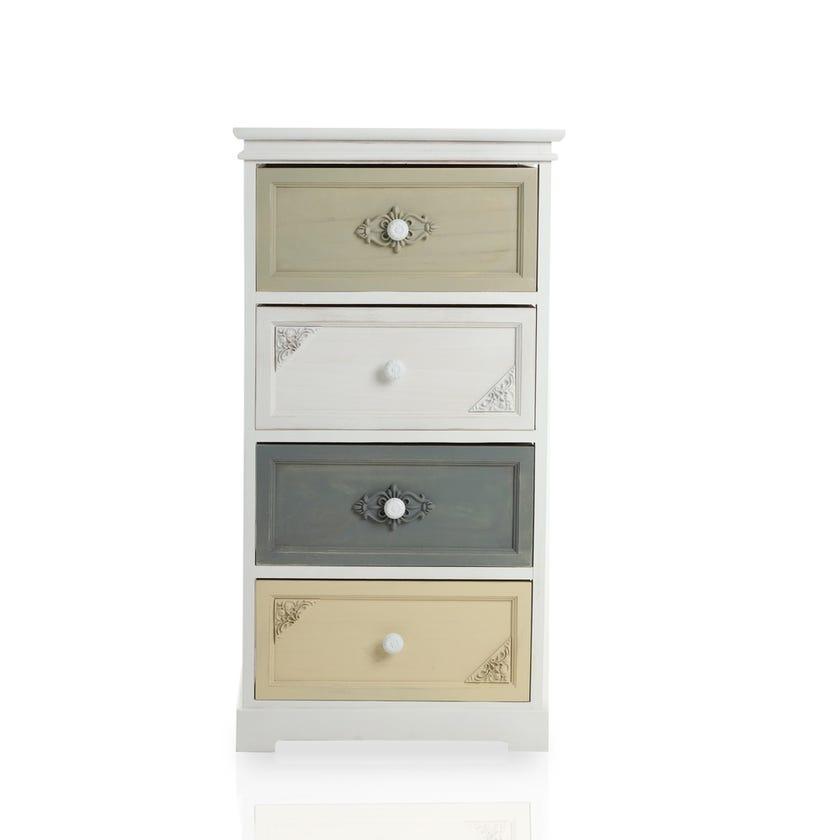 Paulownia Wood Vintage 4 Drawer Cabinet