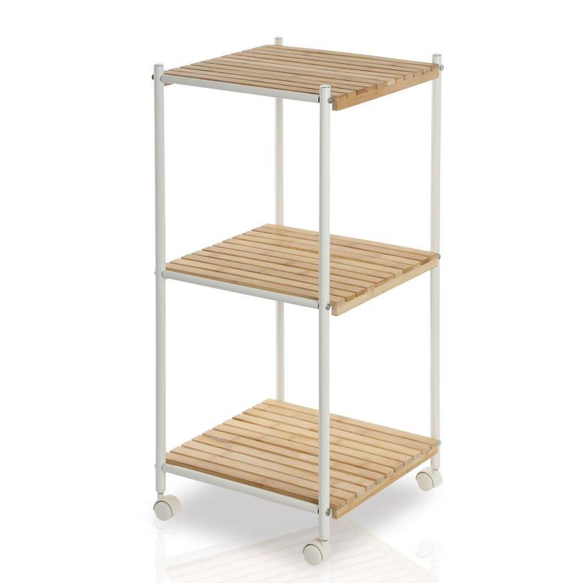 3-tier Bamboo Cart, White
